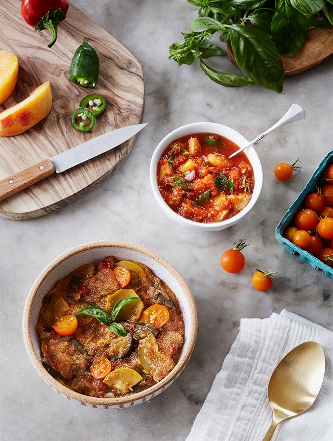 Aubergine Amaranth Stew & Spicy Peach Basil Salsa